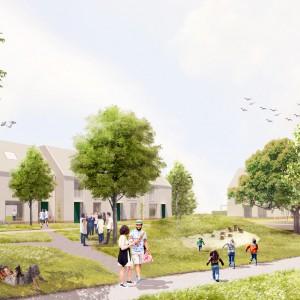 Cohousing Negenhoek in Kortenberg gemeenschappelijke tuin en woningen