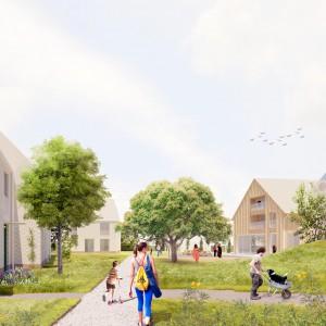 Cohousing Negenhoek in Kortenberg gemeenschappelijke tuin en paviljoen