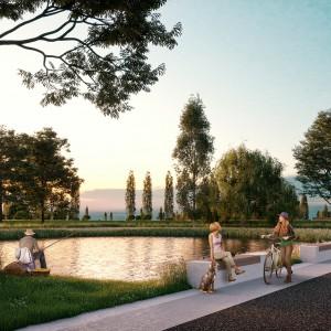 Cohousing suikerpark in Veurne vijver in gemeenschappelijke tuin