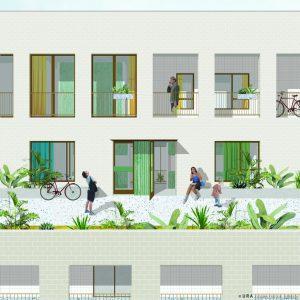 Cohousing 't Wisselspoor in Kessel-Lo gemeenschappelijk terras
