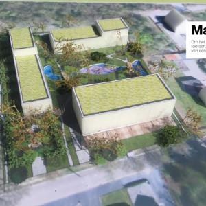 Cohousing Genk Maquette van paviljoen en woningen